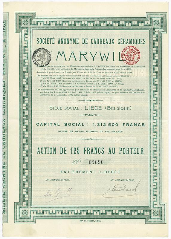 Akcja Towarzystwa Anonimowego Płytek Ceramicznych MARYWIL z roku 1912