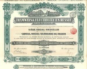 Akcja dywidendowa, bez określonego nominału, na okaziciela belgijskiego Towarzystwa Tramwaje i Elektryczność w Rosji z 1911r.
