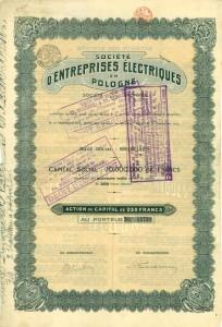 Akcja o nominale 250 Fr belg. na okaziciela, I emisji Towarzystwa Przedsiębiorstw Elektrycznych w Polsce SA (ELECTROPOL) z roku 1923