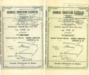 Akcje o nominale 750 zł oraz 10 x 750 zł, na okaziciela emisji złotowej Radomskiego Towarzystwa Elektrycznego SA z 1925r.